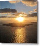 Golden Santorini Sunset Metal Print