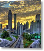 Golden Skies Atlanta Downtown Sunset Cityscape Art Metal Print