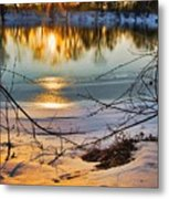 Golden Snow Metal Print