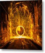 Golden Spinning Sphere Metal Print