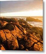 Golden Sunset Coast Metal Print