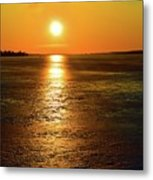 Golden Sunset Light On The Ice Two  Metal Print