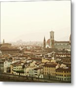 Golden Sunset Of Florence, Italy. Metal Print
