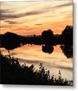 Golden Sunset Reflection Metal Print