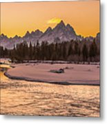 Golden Teton Sunset Metal Print