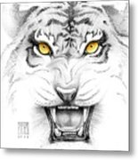 Golden Tiger Eyes Metal Print