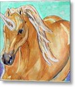 Golden Unicorn Metal Print