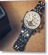 Golden Watch And Black Box Metal Print