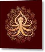 Golden Zen Octopus Meditating Metal Print