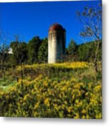 Goldenrod Surrounded Silo Metal Print