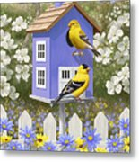 Goldfinch Garden Home Metal Print by Crista Forest