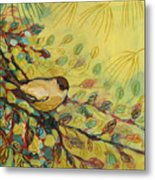 Goldfinch Waiting Metal Print by Jennifer Lommers