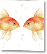 Goldfish Love Watercolor Metal Print