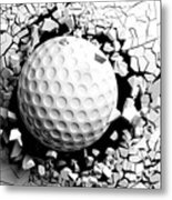 Golf Ball Breaking Forcibly Through A White Wall. 3d Illustration. Metal Print