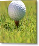Golf Ball On Tee Metal Print