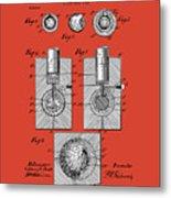 Golf Ball Patent Drawing Red Metal Print