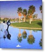 Golf Cart Stuck In Water Metal Print