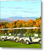 Golf Carts On Vermont Golf Course Metal Print