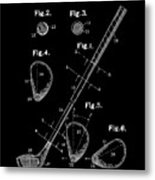 Golf Club Patent Drawing Black Metal Print