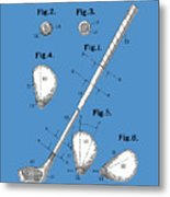 Golf Club Patent Drawing Blue Metal Print