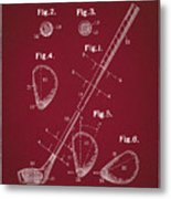 Golf Club Patent Drawing Dark Red Metal Print