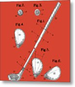 Golf Club Patent Drawing Red Metal Print