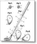 Golf Club Patent Drawing White Metal Print
