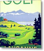 Golf, Lausanne, Switzerland, Travel Poster Metal Print