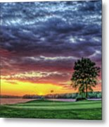 Golf Sunset Number 4 The Landing Reynolds Plantation Golf Art Metal Print