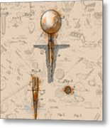 Golf Tee Patent Drawing Sepia Metal Print