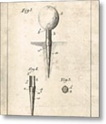 Golf Tee Patent - Patent Drawing For The 1899 G. F. Grant Golf Tee Metal Print
