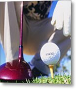 Golfer Sets Up His Shot Metal Print