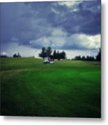 Golfing Before The Rain Golf Cart 01 Metal Print