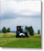Golfing Before The Rain Golf Cart 02 Metal Print