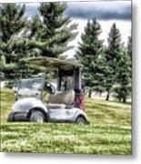 Golfing Before The Rain Golf Cart 03 Metal Print