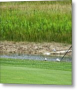 Golfing Chipping The Ball In Flight Metal Print