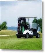 Golfing Golf Cart 03 Metal Print