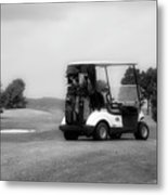 Golfing Golf Cart 06 Bw Metal Print