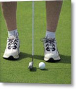 Golfing Lining Up The Putt Metal Print
