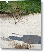Golfing Sand Trap The Ball In Flight 01 Metal Print