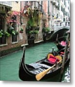 Gondola By The Restaurant Metal Print