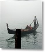 Gondola In The Fog Metal Print