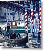 Gondola in Venice on Grand Canal Metal Print
