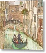 Gondola on Canal in Venice Metal Print