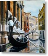 Gondola Ride On Venice Italy Canal Metal Print