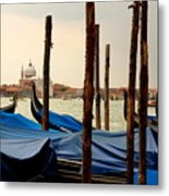 Gondolas And Poles In Venice Metal Print