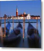 Gondolas And San Giorgio Maggiore At Night - Venice Metal Print