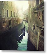 Gondolas In Venice Against Sun Metal Print by Marco Misuri