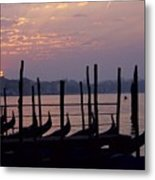 Gondolas In Venice At Sunrise Metal Print
