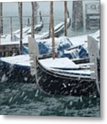 Gondolas In Venice During Snow Storm Metal Print